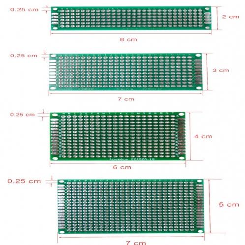 Двухсторонние макетные, печатные платы 4 шт. 5x7 4x6 3x7 2x8 см